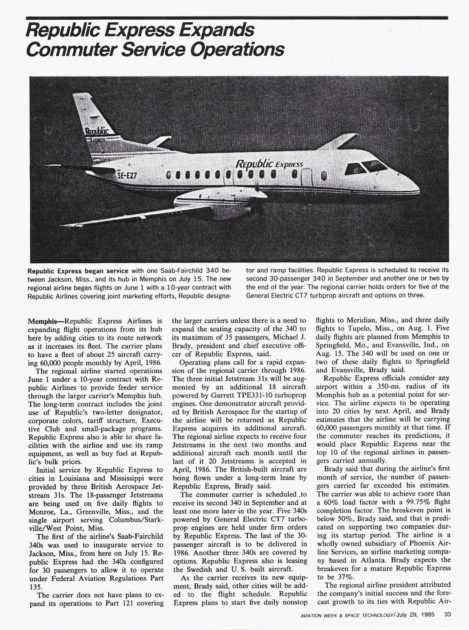 REFLECTIONS Extra – Republic Express write-up in Aviation